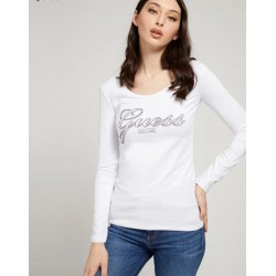 Guess T-shirt logo strass -...